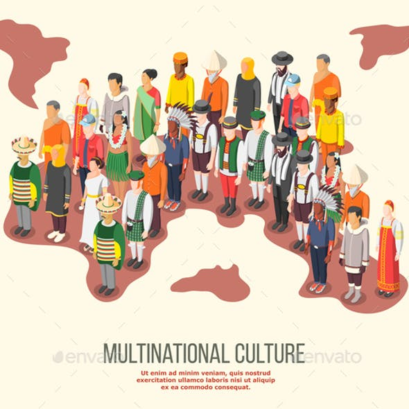 Multinational Culture Isometric Composition