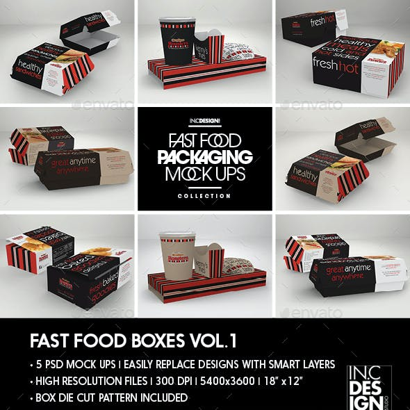 Fast Food Boxes Vol.1:Take Out Packaging Mock Ups