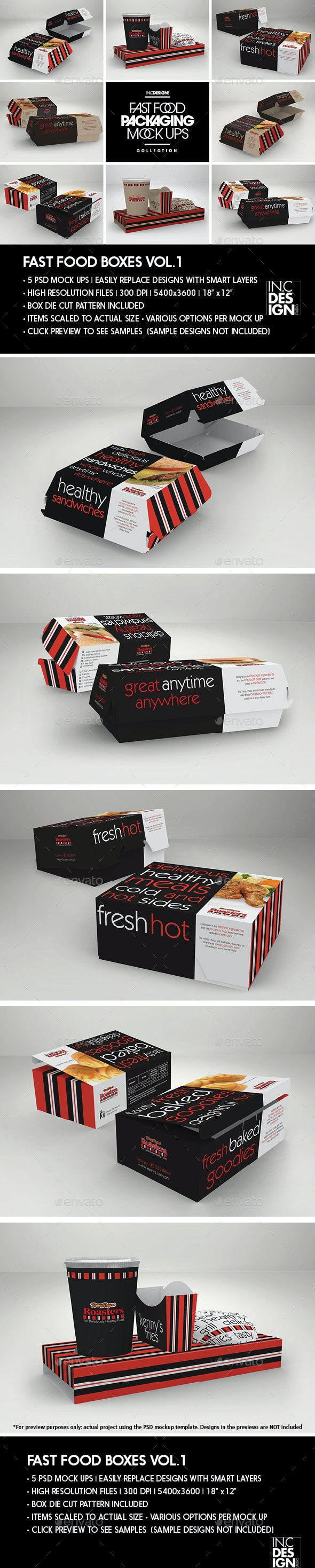 Fast Food Boxes Vol.1:Take Out Packaging Mock Ups - Food and Drink Packaging