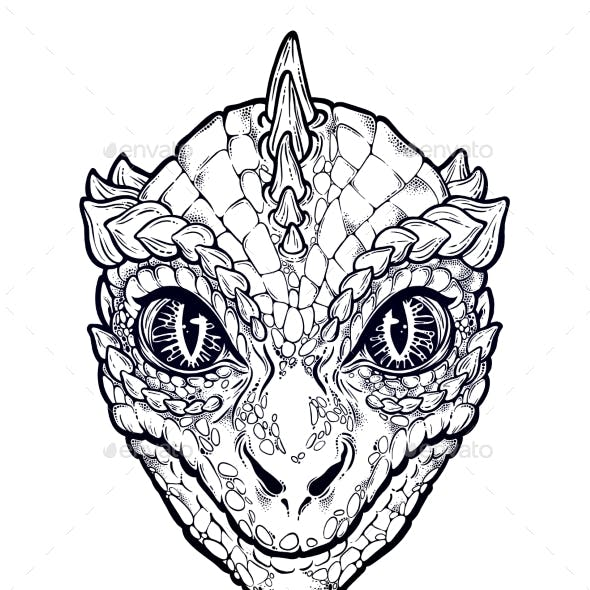 Reptilian Humanoid Alien Head Illustration