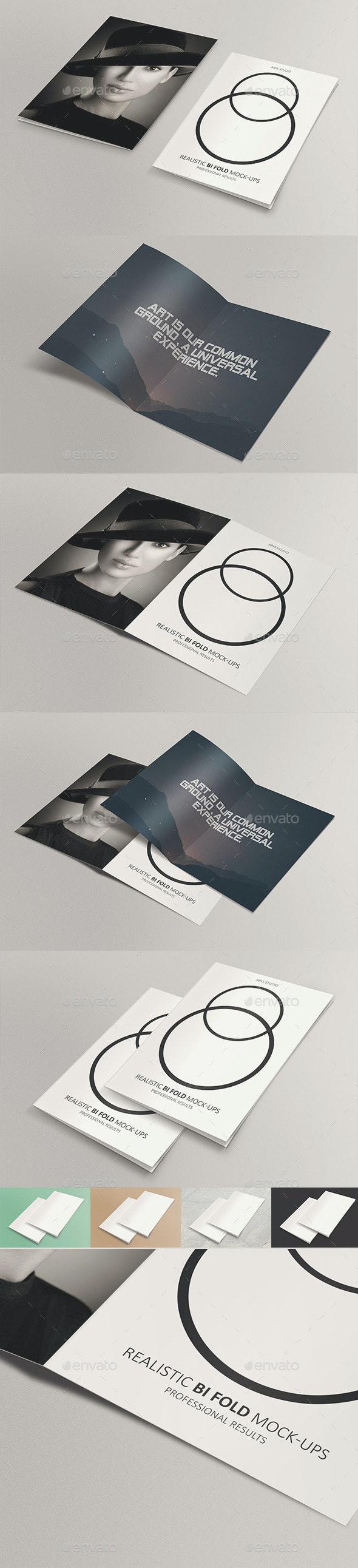 Realistic Bifold Mock-Ups - Brochures Print