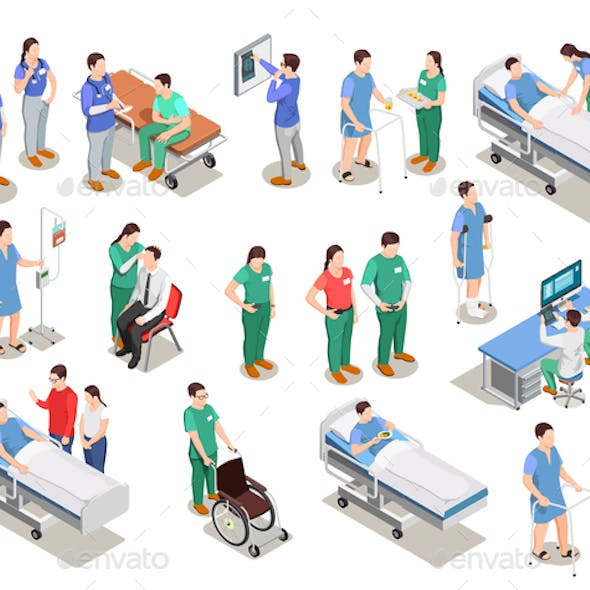 Hospital Staff Patients Isometric People