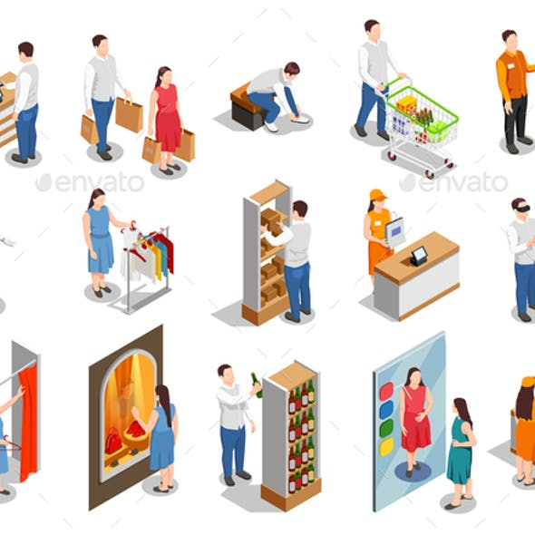 Commercial Consumers Isometric People