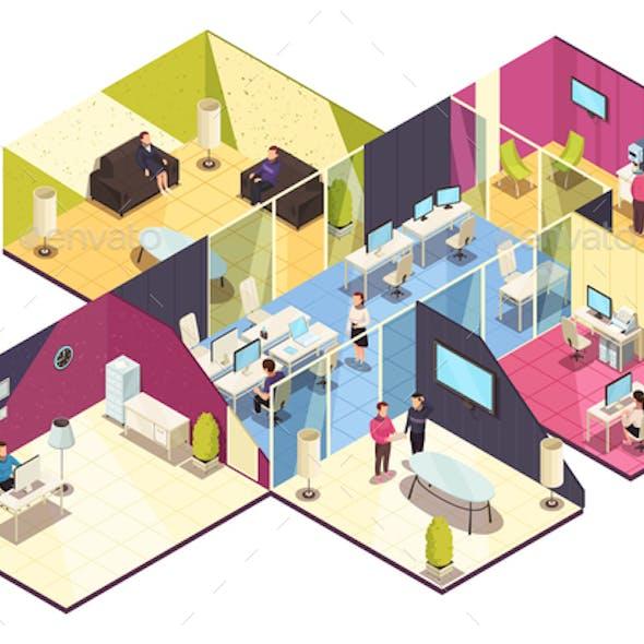Isometric Office Building Interior