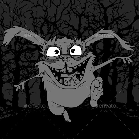 Cartoon Scary Rabbit in Horror Jumping in the Dark