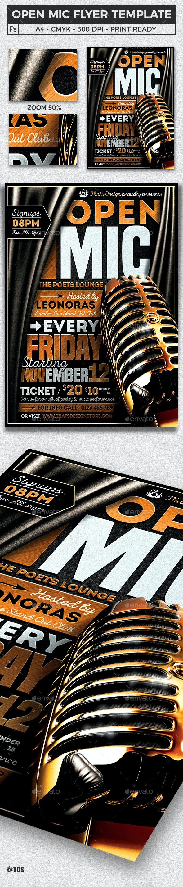 Open Mic Flyer Template - Concerts Events