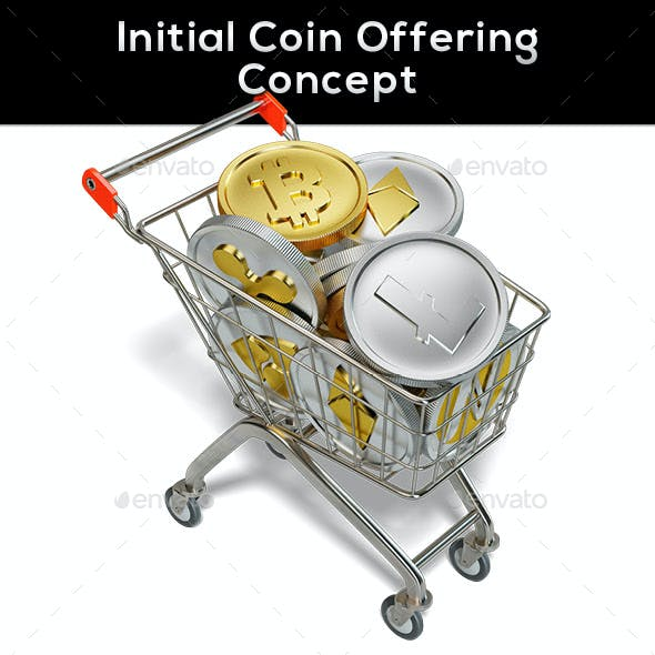 Initial Coin Offering Basket Trolley Concept  Renders