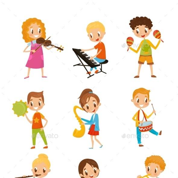 Children Playing Music Instruments