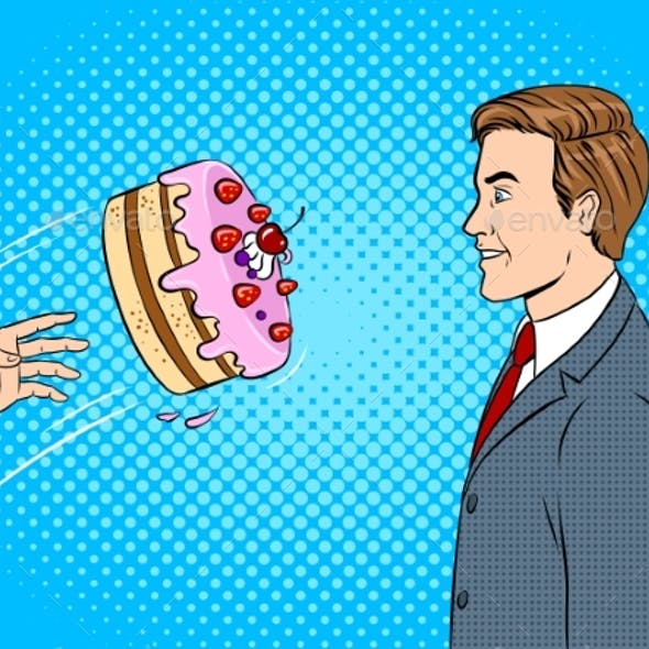Cake is Thrown in Face Pop Art Vector Illustration