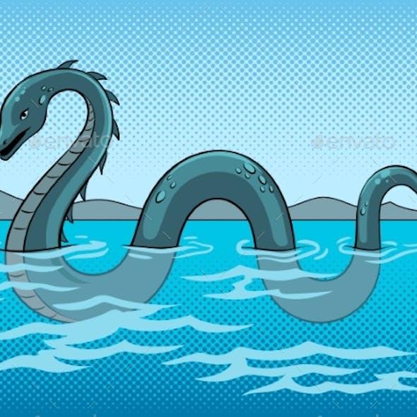Nessie Monster Pop Art Vector Illustration