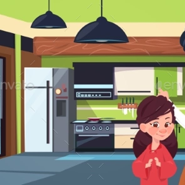 Mother and Daughter in Modern Kitchen Over Fridge