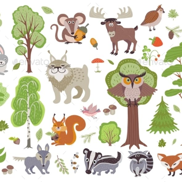 Big Set of Wild Forest Animals Birds and Trees