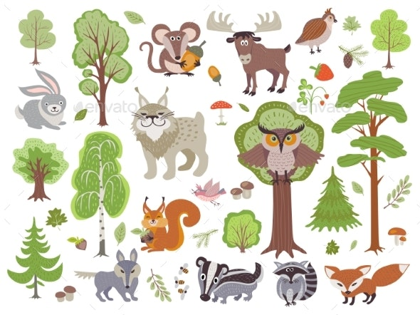 Big Set of Wild Forest Animals Birds and Trees - Miscellaneous Vectors