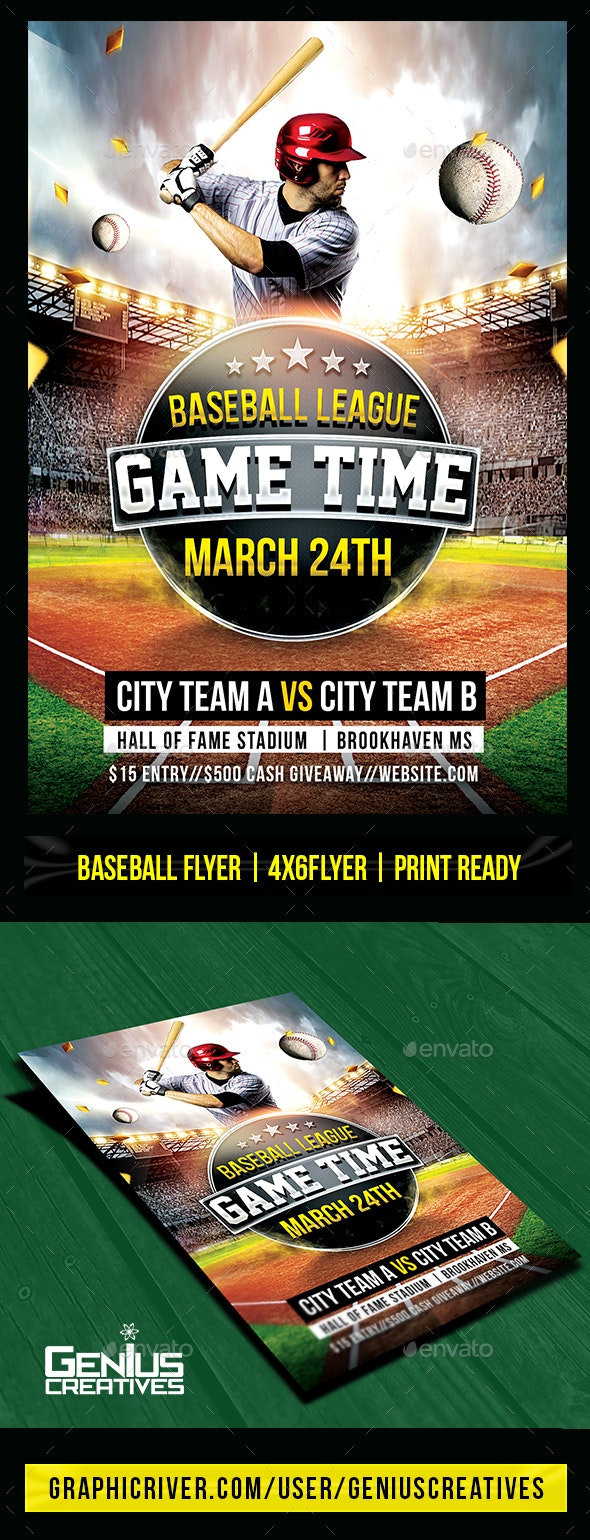 Baseball Game Day Flyer Template - Sports Events