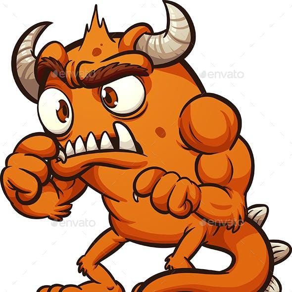 Orange Cartoon Monster