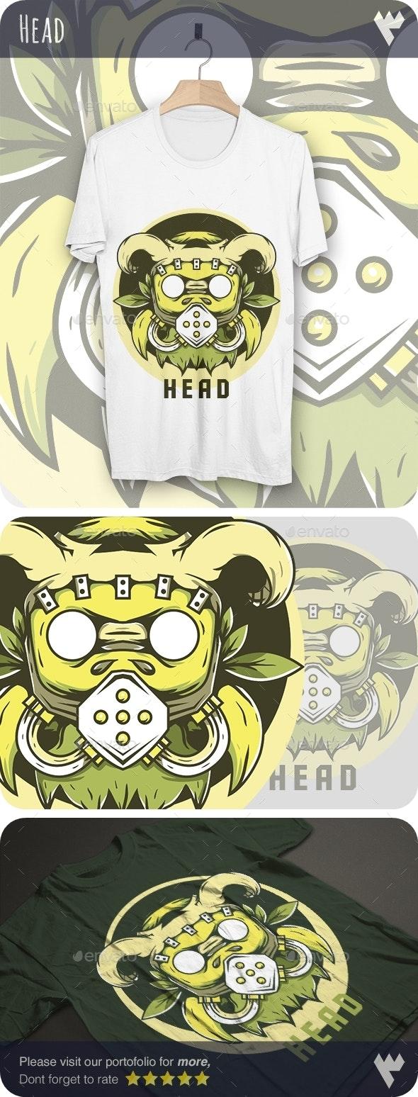 Tribal Chief Bull Head - T-Shirt Design - Funny Designs