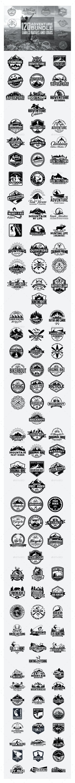 120 Adventure Badges and Logo Bundle - Badges & Stickers Web Elements