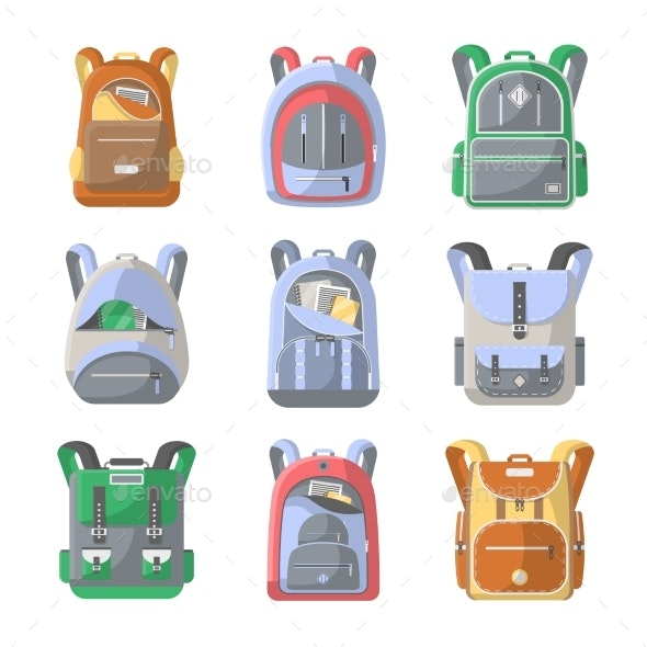 School Backpack Vector Icon Set - Objects Vectors