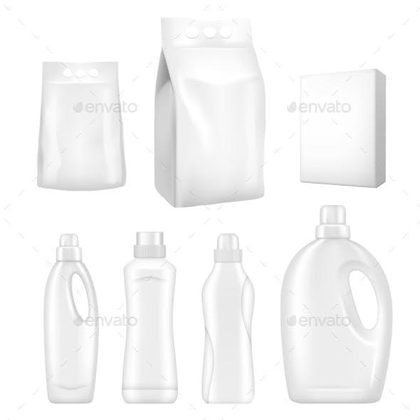 Detergent Packaging Vector Realistic Mock Up Set
