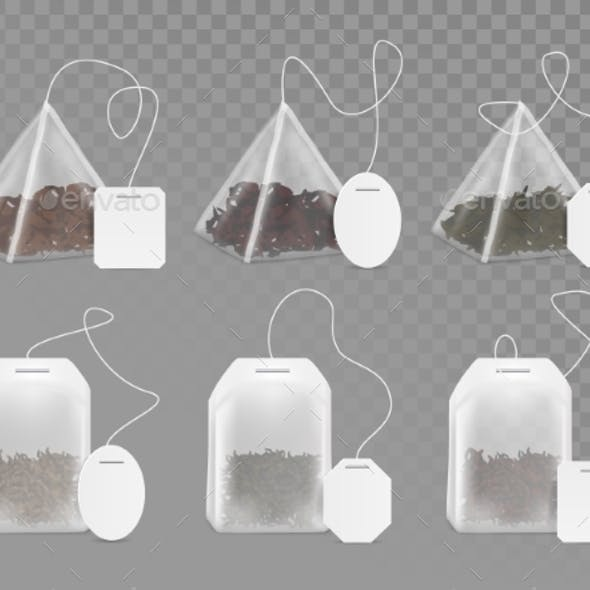Tea Bag with Empty White Label Vector Mock Up Set