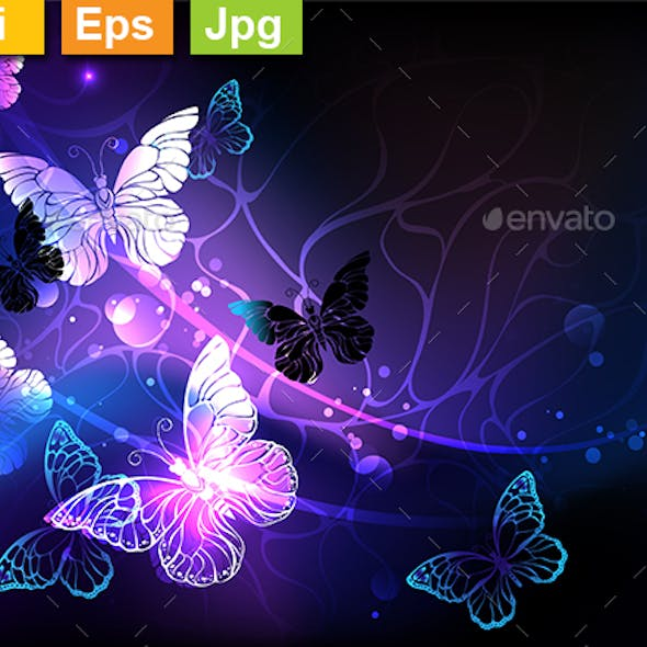 Background with Night Butterflies
