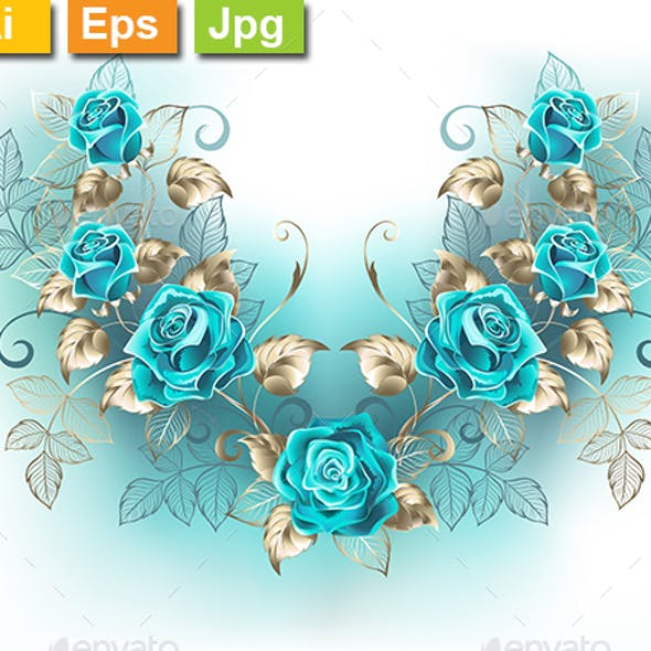 Symmetrical Composition with Turquoise Roses