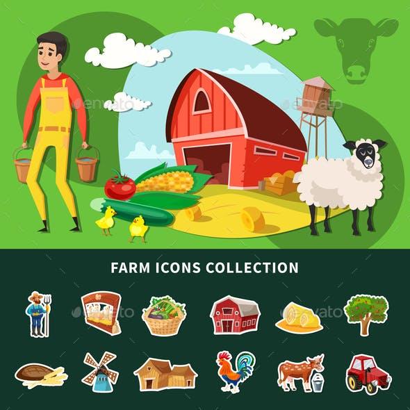 Cartoon Farm Composition