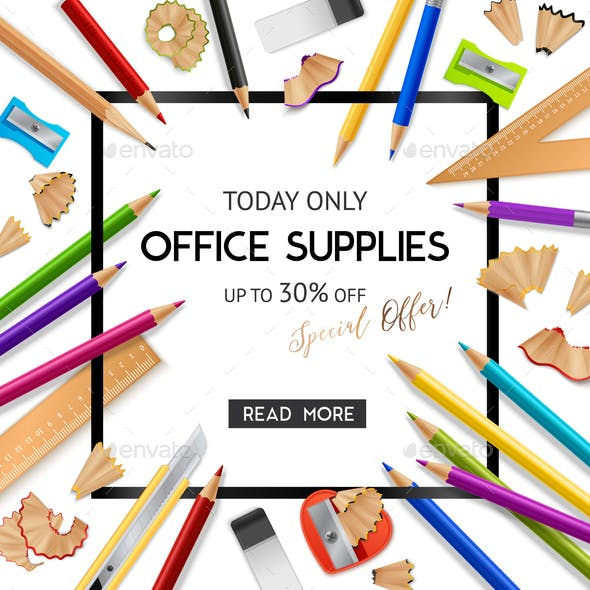 Office Supplies Realistic Background