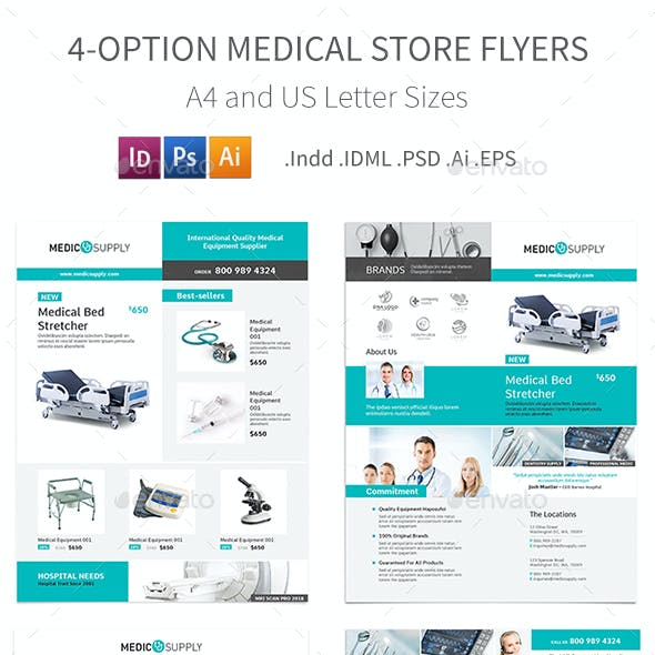 Medical Store Flyers – 4 Options