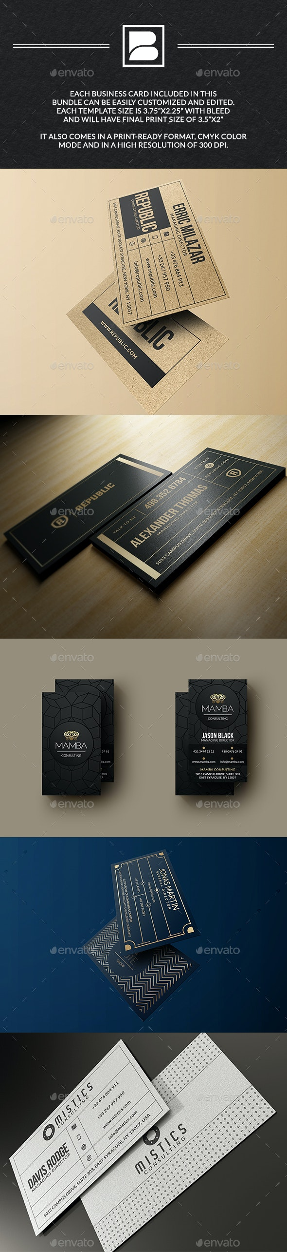 Business Cards Bundle - 5 In 1 - Business Cards Print Templates