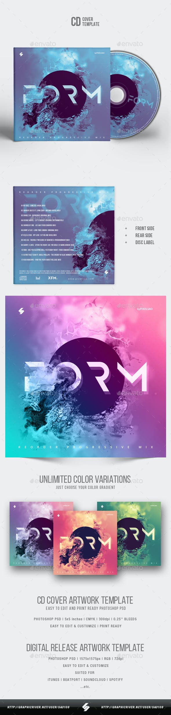 Form - Abstract CD Cover Artwork Template