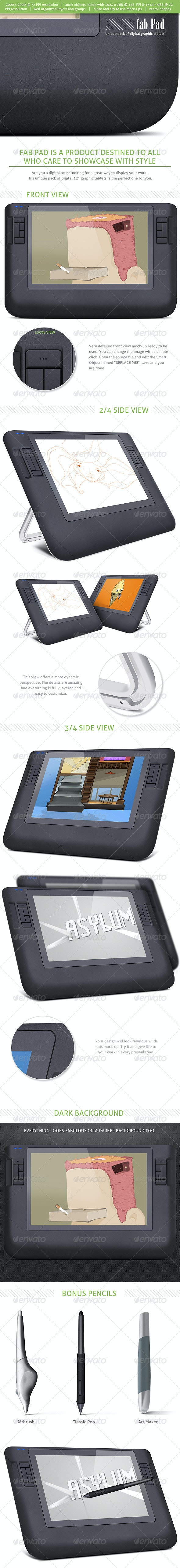 Fab Pad  - Digital Graphic Tablets  Mock-ups - Miscellaneous Displays