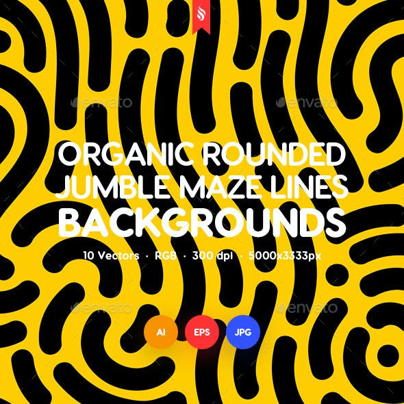 Organic Rounded Jumble Maze Lines Seamless Patterns / Backgrounds
