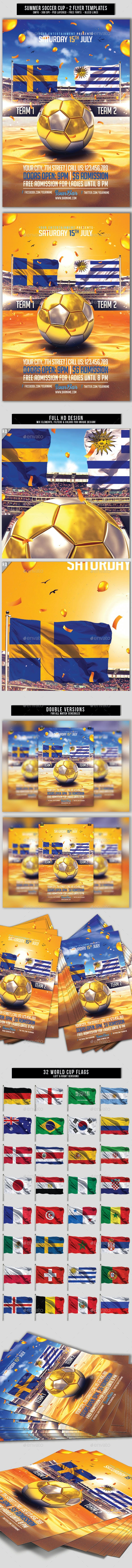 Summer Soccer Cup | 2in1 PSD Flyer Templates - Events Flyers