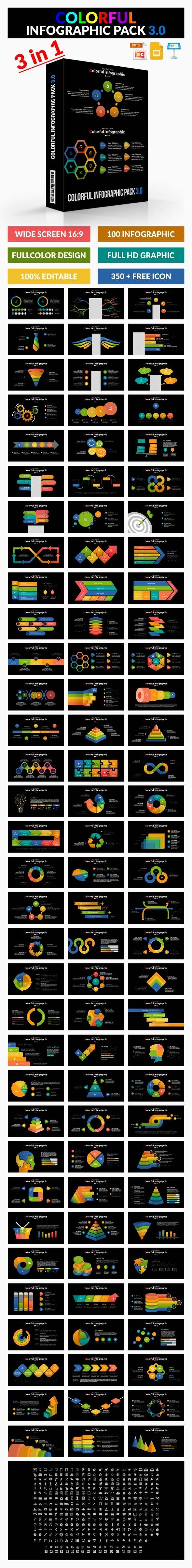 Bundle Colorful Infographic Pack 3.0 - PowerPoint Templates Presentation Templates