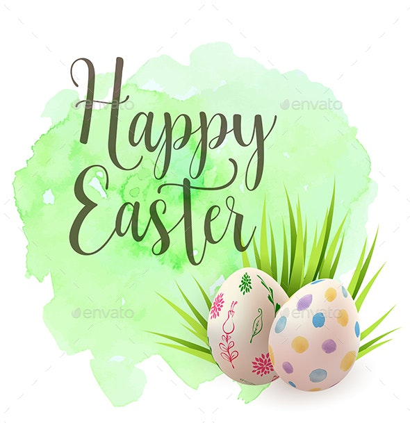 Easter Greeting Card with Eggs - Miscellaneous Seasons/Holidays