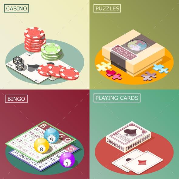 Board Games Isometric Design Concept