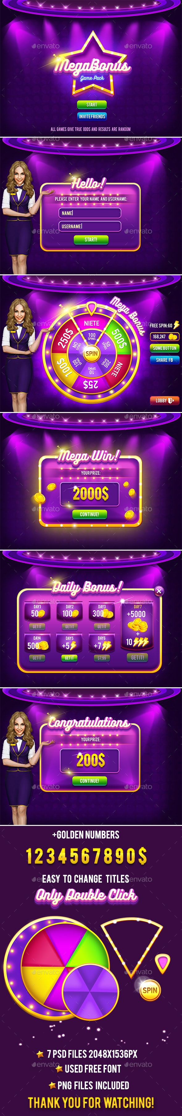 Casino Lucky Wheel Game Pack #2 - Game Kits Game Assets