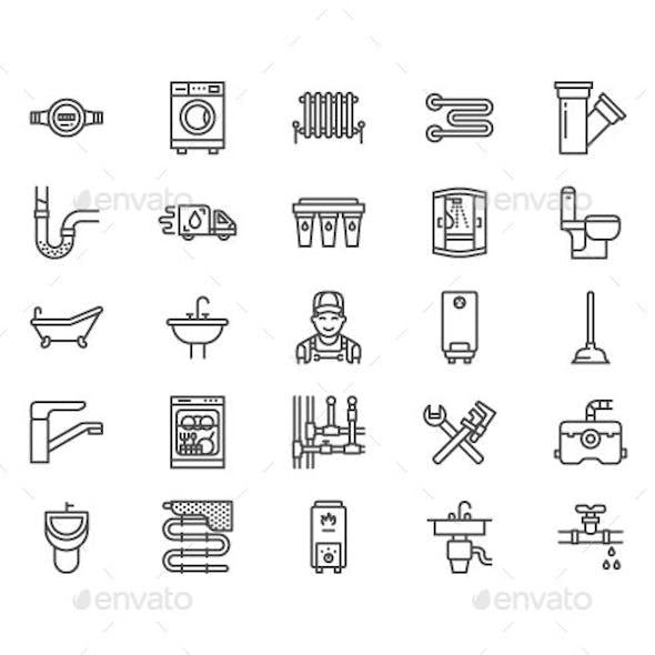 Plumbing Service Line Icons