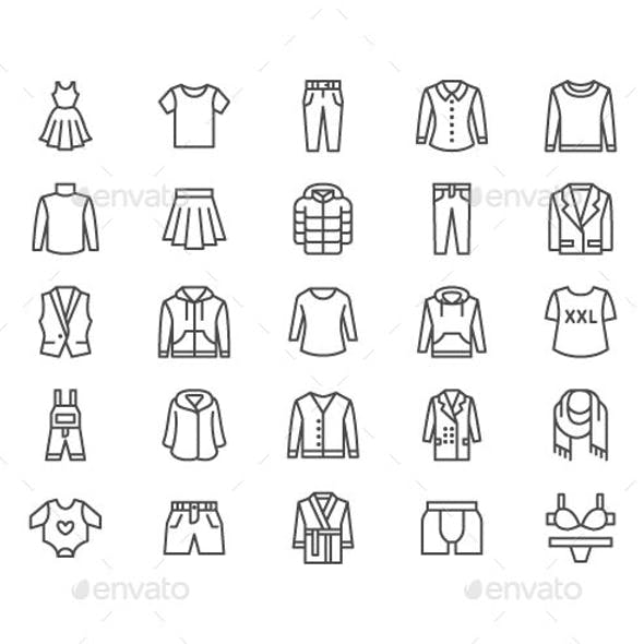 Clothing, Apparel Line Icons