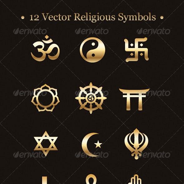 12 Vector Religious Symbols
