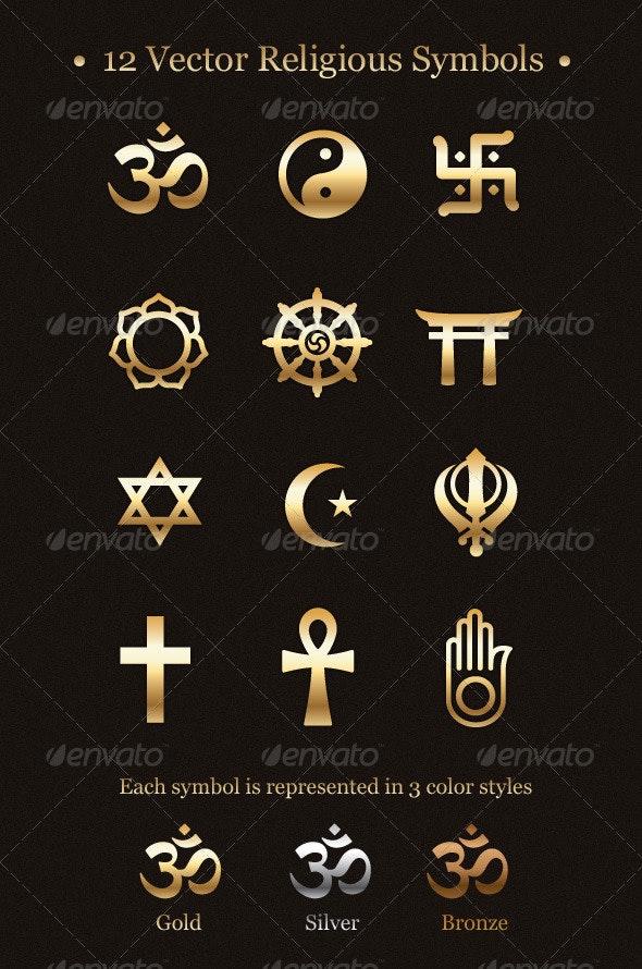 12 Vector Religious Symbols - Religion Conceptual