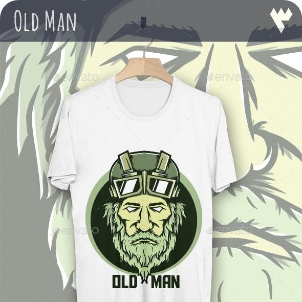 Old Man with Goggles - T-Shirt Design