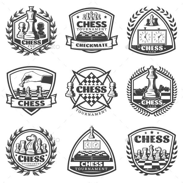 Vintage Monochrome Chess Game Labels Set - Sports/Activity Conceptual