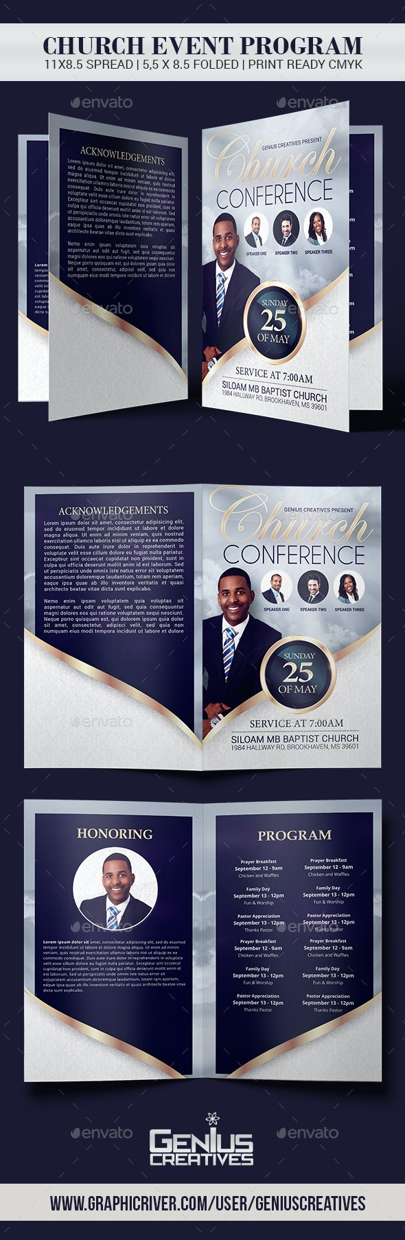 Church Conference Flyer Program Template - Informational Brochures