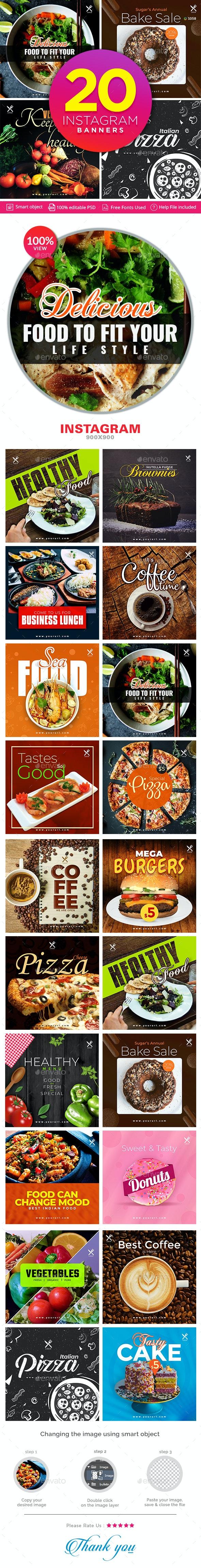 Food Instagram Templates - 20 Designs - Miscellaneous Social Media