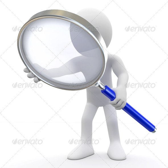 Man with Magnifying Glass - 3D Renders Graphics