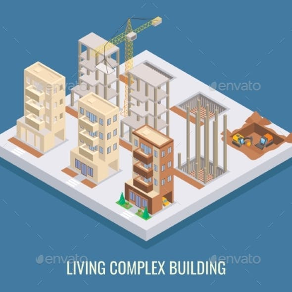 Living Complex Building Vector Flat Isometric