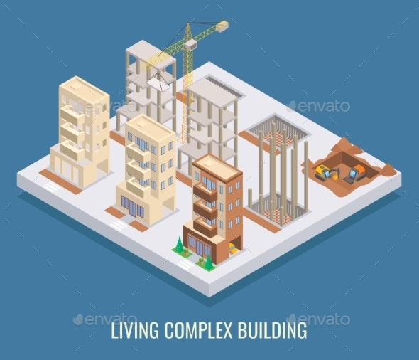 Living Complex Building Vector Flat Isometric - Buildings Objects