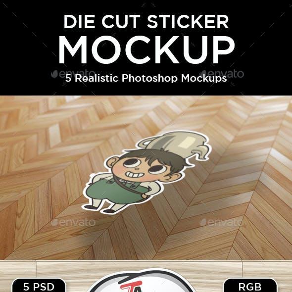Custom Die Cut Sticker Mockup
